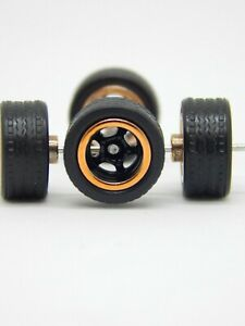Hot Wheels 5 hole black rubber wheels with axles 12 sets mix pack