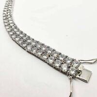 Mens Double Row Bracelet Tennis Bracelet white gold finish with Created Diamond