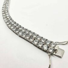 Mens Double Row Bracelet Tennis Bracelet white gold finish with Created Diamond