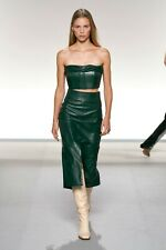 Paneled High Waist Flattering Leather SkirtValentine Spring Women Leather Skirt