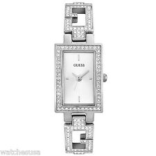 Guess Ladies Silver Dial Stainless Steel and Crystal Bracelet Watch G85458L