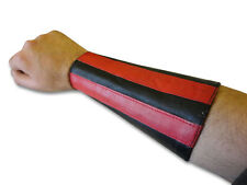 Red Stripes Double Leather Gauntlet Handcuff Wristband Arm Band Brand New Pair