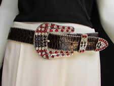 Women Brown Leather Western Fashion Belt American Flag Metal Big Buckle Size S M