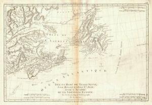 Isle et Banc de Terre-Neuve, Isle Royale… Gulf of St Lawrence. BONNE 1788 map