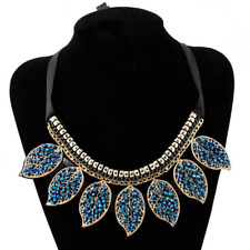 Fashion Retro Women Lady Blue Glass Beaded Leaves Pendant Choker Collar Necklace