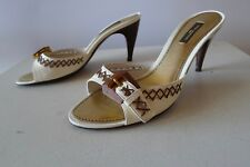 Louis Vuitton 38.5  NQ0096 ivory slip on mules shoes wood buckle excellent