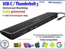 USB-C THUNDERBOLT 3 - Universal Docking +Power = for NEW MacBook, iMac, Windows