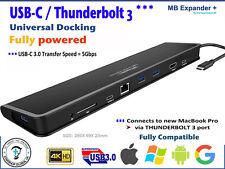 USB-C THUNDERBOLT 3 - Universal Docking +Power = for NEW MacBook, iMac, Windows