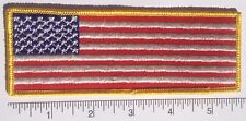 "American Flag Embroidered Patch LONG 5.75x2"" Yellow Edge -- Patriotic US USA"