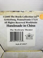 2000 Boyds Bearly Built Village The Roxbeary Theater. New In Box #19017