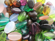 B33--80+ VINTAGE Czech Glass Beads 16x11mm Assorted Colors Lot