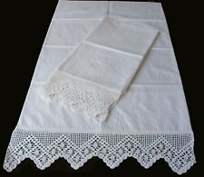 PillowCases (2) New White Cotton Sateen Hand Crochet Trim Pillowsham Standard