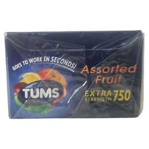 Tums Assorted Fruit Calcium Carbonate 750 mg Antacid 8 Ct, 12 PACK (96 Tablets)