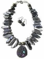 HUGE TITANIUM METALLIC QUARTZ DRUZY CRYSTAL GEODE EGYPTIAN CLEOPATRA NECKLACE
