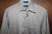 Chaps Mens Twill Shirt Wrinkle Free Medium Sz 15-15.5 - 34/35 Beige Long Sleeve