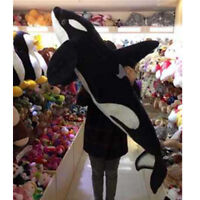 51'' Giant Simulation Black Shark Killer Whale Plush Doll Stuffed Animal Gifts #