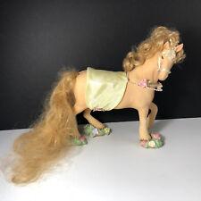 PORCELAIN HORSE SCULPTURE figurine statue Akhal Teke pink flower pearl mohair