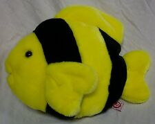 "TY Beanie Buddy BUBBLES THE YELLOW AND BLACK FISH 11"" Plush STUFFED ANIMAL"