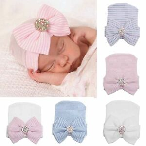 Newborn Baby Girls Infant Striped Soft Beanie Hat with Bow Hospital Headwrap Cap