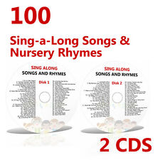 100 Children's Sing-along Songs 2 CD's Young Kids Favourite Nursery Rhymes Songs