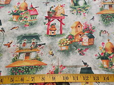 Bird Houses Cotton Fabric By The Yard
