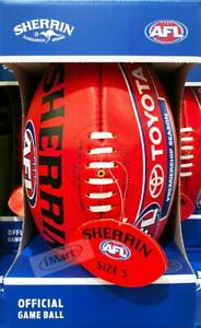 Sherrin AFL Football Red Leather Game Ball Size 5