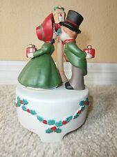 1980 Enesco Musical Figurines Boy & Girl Christmas