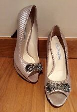 VERA WANG LAVENDER SHOES PALE GOLD SLIVER SHEEN LEATHER PEEPTOE SIZE 7 UK