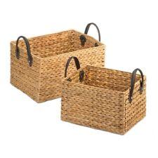 2 Natural Hyacinth Straw Wicker Storage Nesting Baskets w/ Faux Leather Handles