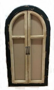 Scratch & Dent Vintage Finish Wood Arched Window Frame with Doors