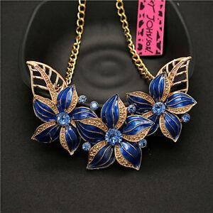 Betsey Johnson Blue Enamel Camellia Flower Rhinestone Women Chain Necklace