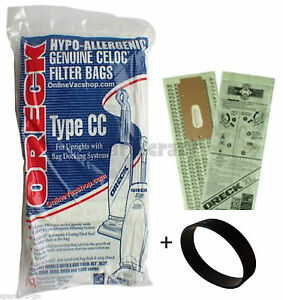 Genuine Oreck XL Upright Vacuum Bags Type CC + 1 Non genuine Belt