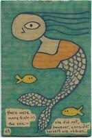 fish in the sea e9Art 6x9 Mermaid Outsider Folk Art Brut Naive Painting Primitiv