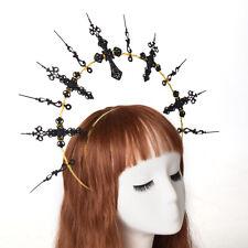 Black Gothic Fancy Dress Party Cross Spike Headband Halloween Costume Headwear