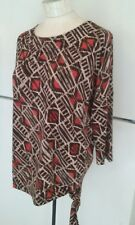 Chico's SZ 1 Brown White Orange Abstract Print 3/4 S/L Top Wide Waistband w/ tie