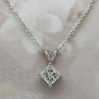 """1.00ct Princess Cut Solitaire 14k White Gold Over Diamond Pendant With 18"""" Chain"""