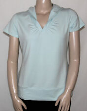 NEW Zuda Size Large MINT Stretch Cotton/Modal Short Sleeve Hooded Pullover