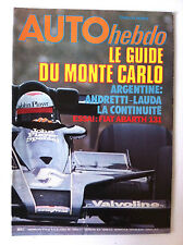 AUTO HEBDO n°97; Le Guide du Monte Carlo/ Assai Fiat Abarth 131/ Andretti Lauda