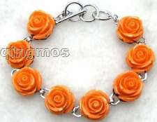 "Fashion Jacinth Rose Coral Bracelet for Women Jewelry Adjustable 7-8.3"" b221"