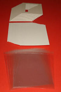 """100 SOFT WHITE PICTURE MOUNTS, BACK & BAG 14 x 11"""" for A4"""