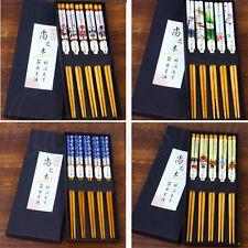 5 Pairs Set Japanese Bamboo Wood Chopsticks Table Dinner Stick Kitchen Tableware