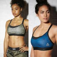 Women's Reebok Combat Training 2-In-1 Sports Bra AP6872 AX9829 Green Blue