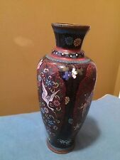 Antique Asian Chinese Fine Cloisonne Enamel Vase 7.5 inches Heron bird