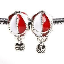 2pcs Red Hot air balloon Paint Silver Charm Bead suit Necklace Bracelet Chain