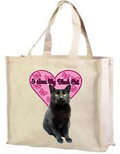 I Love my Black Cat Cotton Shopping Bag - Choice of Colours: Black, Cream