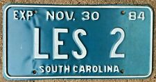 Superb 1984 SOUTH CAROLINA personalized vanity license plate # LES 2