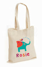 Personalised Baby Changing Nappy Cotton Canvas Tote Bag-       'Elephant & Bird'