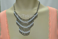Layered White Bead Boho Statement Necklace -W/ Love From CA Urban Outfitters