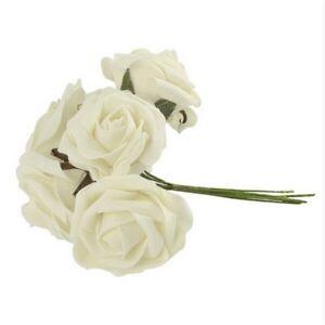 10Pcs Artificial Foam Roses Flowers With Stem Wedding Bride Bouquet Party Decor