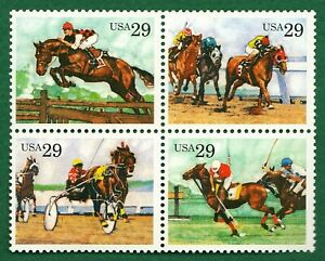=WOW= #2759a SPORTING HORSES, BLOCK OF 4, MNH, Racing Polo Steeplechase Harness